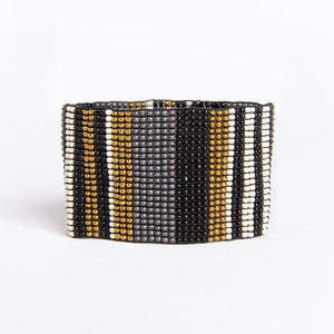 Black Ivory Gold Stripe Stretch Bracelet