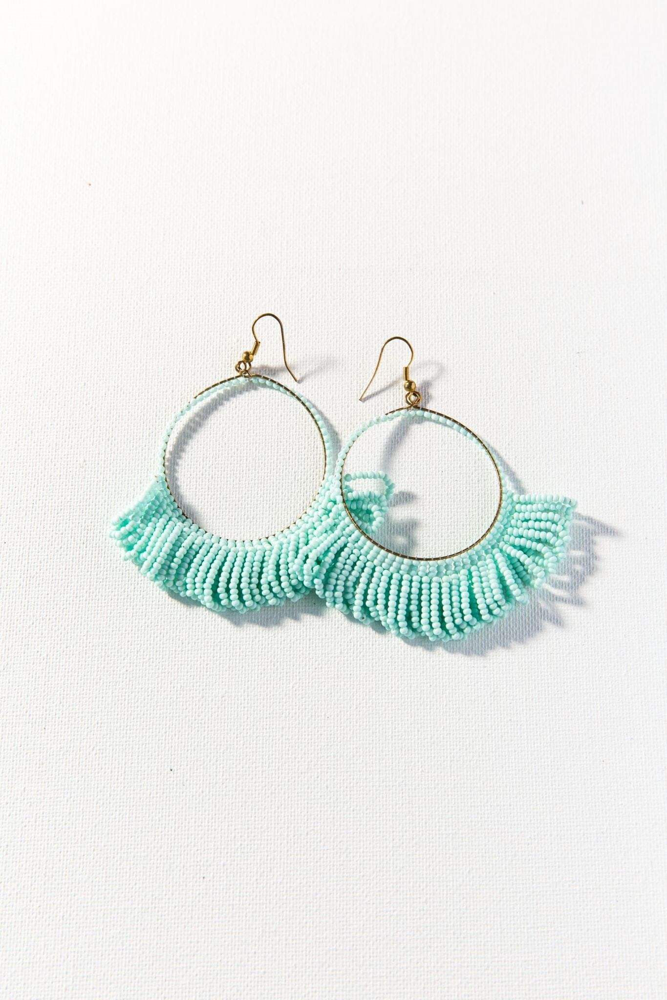 Light Blue Beaded Fringe Hoops