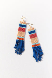 Blue Pink Stripe Long Seed Bead Earring