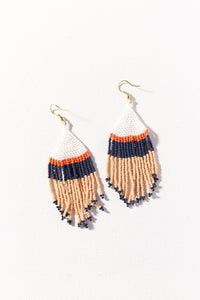 Pink White Navy Stripe Seed Bead Earring