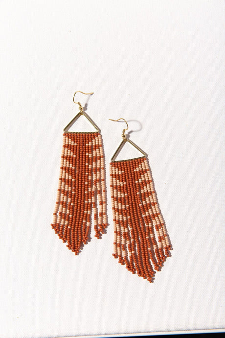 Rust Arrow Fringe Earring