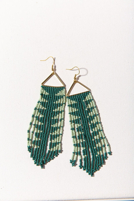 Teal Arrow Fringe Earring