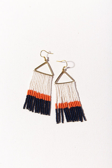 Navy Color Block Fringe Bead Earring