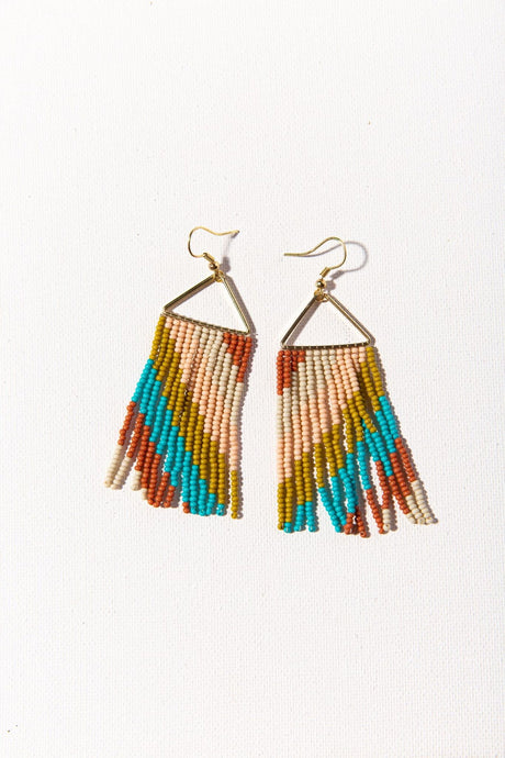 Rust Diagonal Stripe Bead Earrings