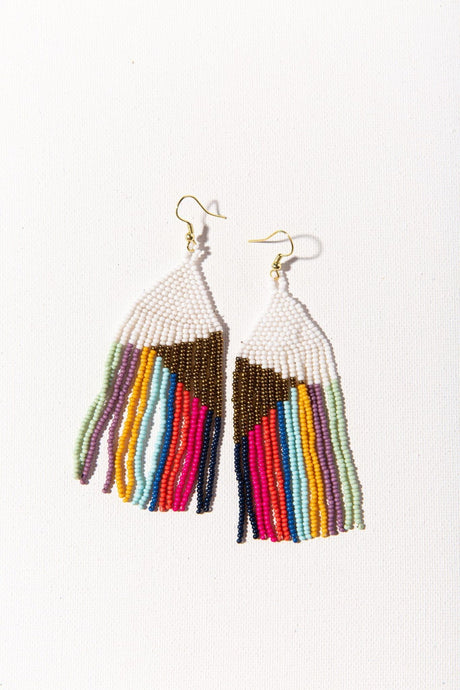 Gold White Bright Stripe Earrings