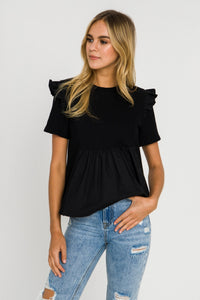Knit Poplin Mixed Top