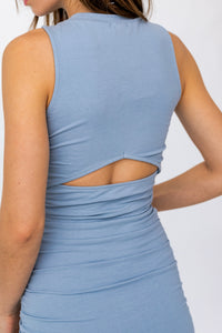 Dusty Blue Ruched Tank Dress