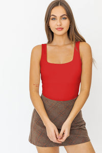 Red Square Neck Bodysuit