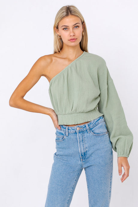 Sage One Shoulder Top