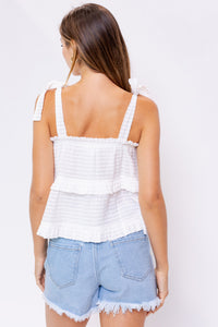 White Tiered Tie Top