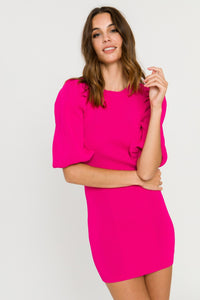 Hot Pink Ribbed Dress