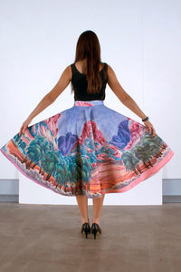 SKIRT [BACK] Hubert Pareroultja - Mount Giles, 2015 - 1950s style circle skirt - Limited edition of 10 - Digital printing on linen and cotton blend, lined with silk, entirely hand-sewn