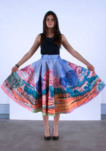 SKIRT [FRONT] Hubert-Pareroultja - Mount Giles, 2015 - 1950s style circle skirt - Limited edition of 10 - Digital printing on linen and cotton blend, lined with silk, entirely hand-sewn