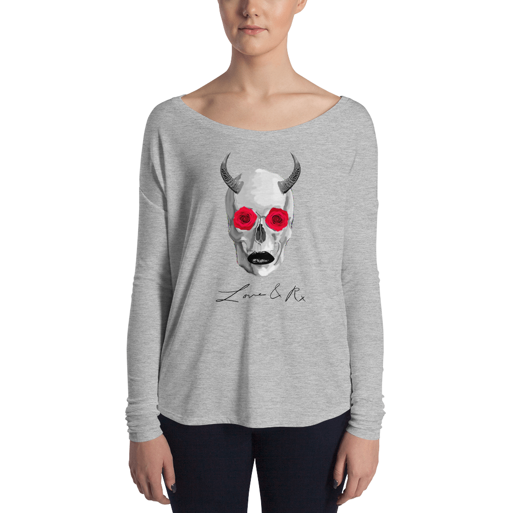 Chupacabra Rose Horned Skull Love And Rx Ladies' Long Sleeve Tee - Athletic Heather