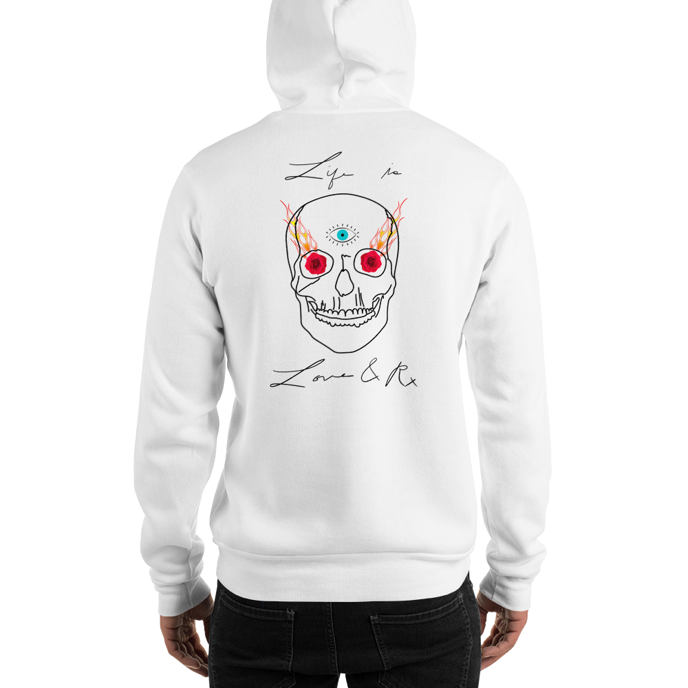 Love And Rx: 3rd Eye Flaming Skull Truth Slayer Hooded Sweatshirt Print On 50-50 Hooded Sweatshirt - White