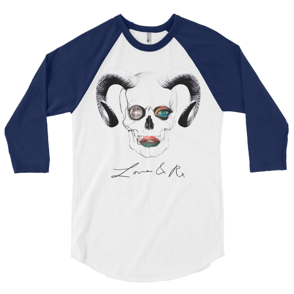 Love And Rx: Ram Skull Void 3/4 Sleeve Unisex Raglan Shirt - White W/ Navy Sleeves