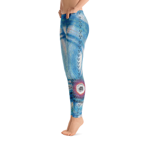 Blue Water Color Concentric Circles White Rose Yoga Dance Pilates Leggings