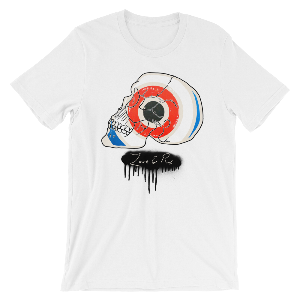 Love And Rx: Target Profile Skull Winged Sun Disc Love And Rx Short-Sleeve Unisex T-Shirt - White