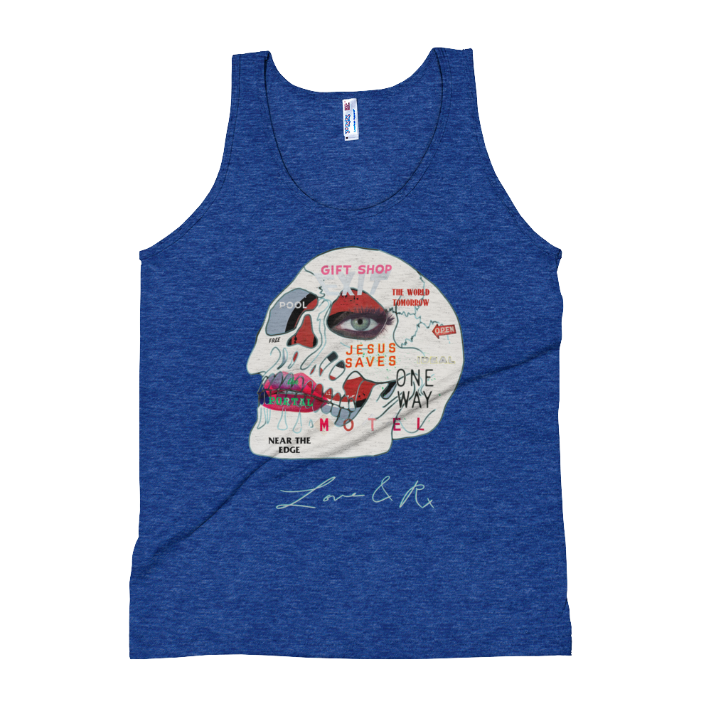 Love And Rx: Words Skull Print On Tri-Indigo Unisex Tank