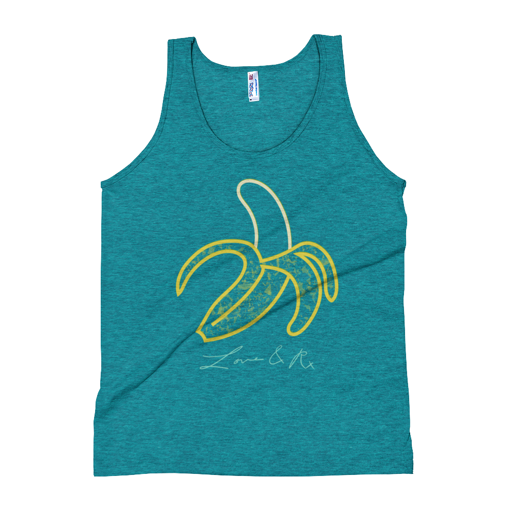 Love And Rx: Yellow Peeled Banana Print On Tri-Evergreen Unisex Tank