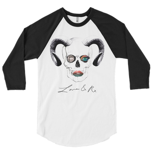 Love And Rx: Ram Skull Void 3/4 Sleeve Unisex Raglan Shirt - White W/ Black Sleeves