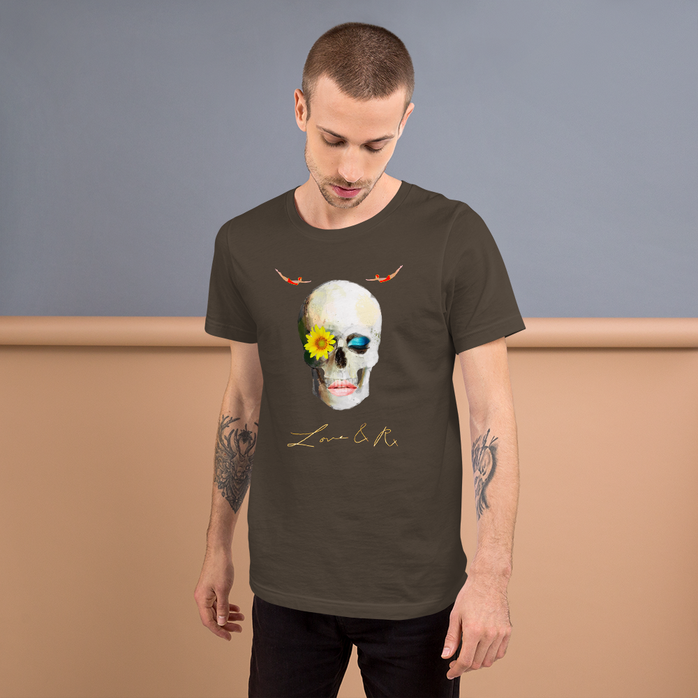 Lucid Dreamer Flower Skull Divers Short-Sleeve Unisex T-Shirt - Army