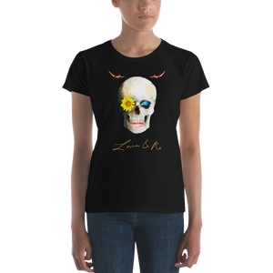 Lucid Dreamer Flower Skull Love And Rx Women's Short Sleeve T-Shirt - Black