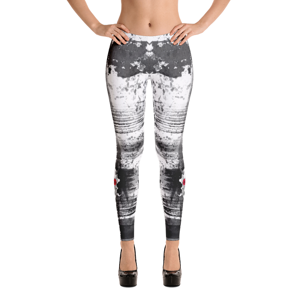Black Ink Brushstrokes Chupacabra Skull Studio To Street Yoga Dance Jogger Leggings