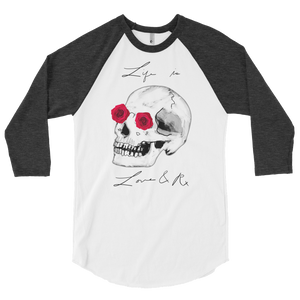 Love And Rx: He She Rose Skull Love And Rx 3/4 Sleeve Unisex Raglan Shirt - White W/ Heather Black Sleeves