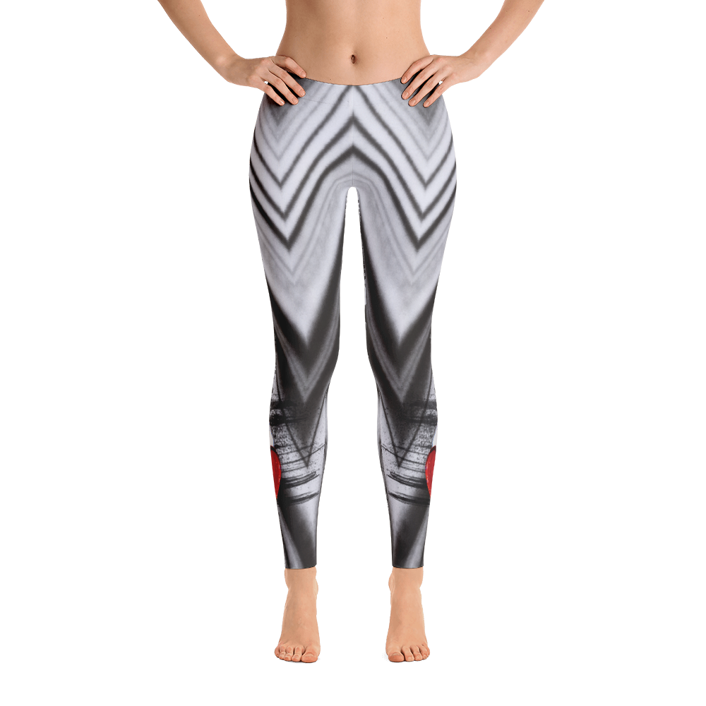Winged Heart Black And White Chevron Yoga Dance Pilates Leggings