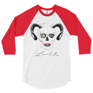 Love And Rx: Ram Skull Void 3/4 Sleeve Unisex Raglan Shirt - White W/ Red Sleeves