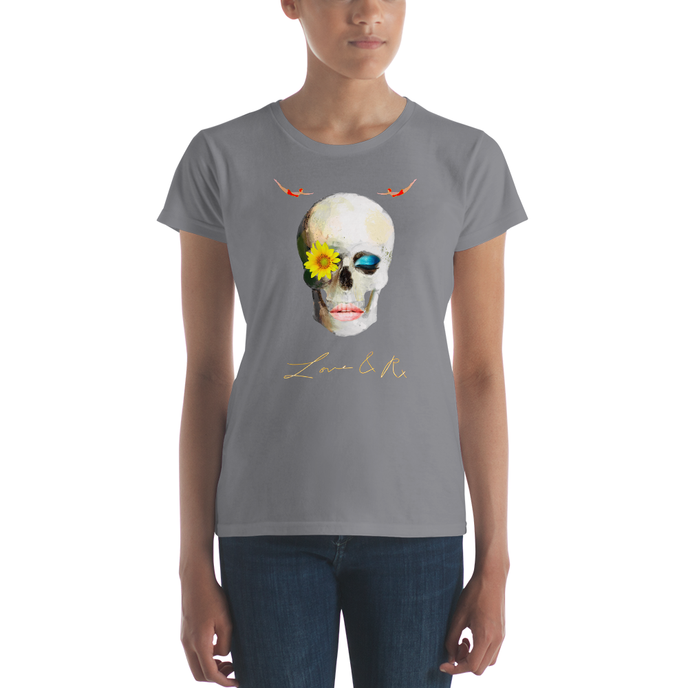 Lucid Dreamer Flower Skull Love And Rx Women's Short Sleeve T-Shirt - Storm Grey
