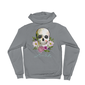 Love And Rx: Flower Skull Love And Rx Zip Hoodie Sweater - Asphalt