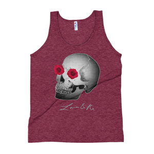 Love And Rx: He She Rose Skull Print On Tri-Cranberry Unisex Tank
