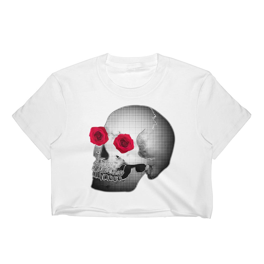 She-He Rose Skull Women's Crop Top Tee