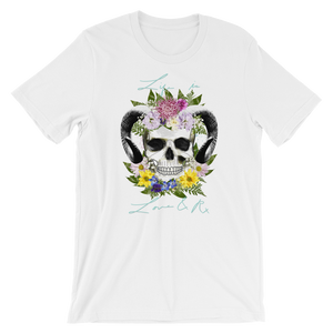 Love And Rx: Flower Ram Skull Life Is Love And Rx Short-Sleeve Unisex T-Shirt - White