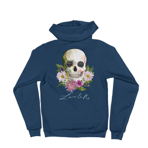 Love And Rx: Flower Skull Love And Rx Zip Hoodie Sweater - Sea Blue