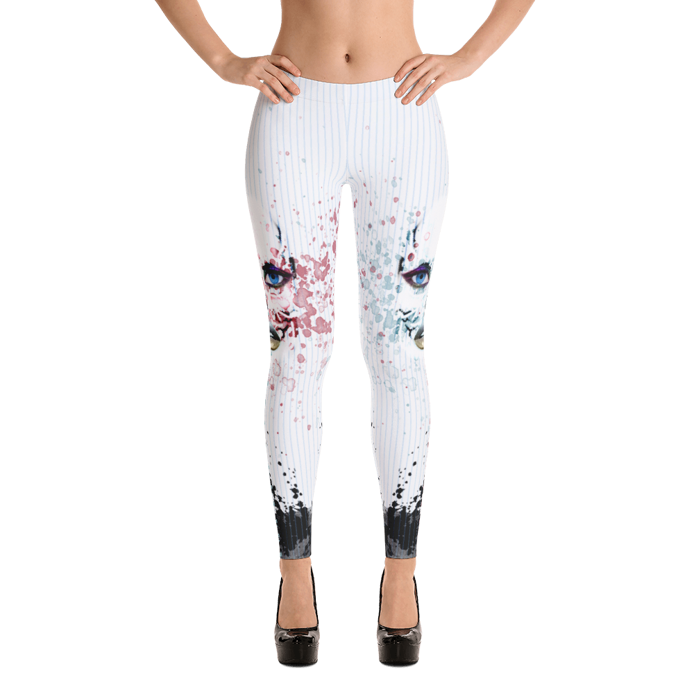 Pin Stripe Skull Paint Splash Yoga Dance Pilates Leggings