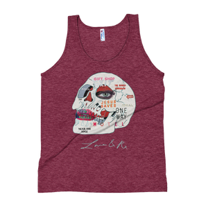 Love And Rx: Words Skull Print On Tri-Cranberry Unisex Tank