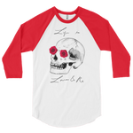 Love And Rx: He She Rose Skull Love And Rx 3/4 Sleeve Unisex Raglan Shirt - White W/ Red Sleeves