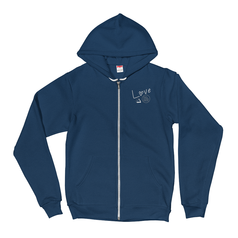 Love And Rx: She He Rose Skull Love And Rx Zip Hoodie Sweater - Sea Blue