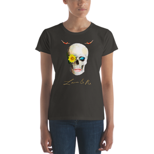 Lucid Dreamer Flower Skull Love And Rx Women's Short Sleeve T-Shirt - Smoke
