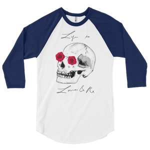 Love And Rx: He She Rose Skull Love And Rx 3/4 Sleeve Unisex Raglan Shirt - White W/ Navy Sleeves