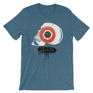 Love And Rx: Target Profile Skull Winged Sun Disc Love And Rx Short-Sleeve Unisex T-Shirt - Heather Deep Teal