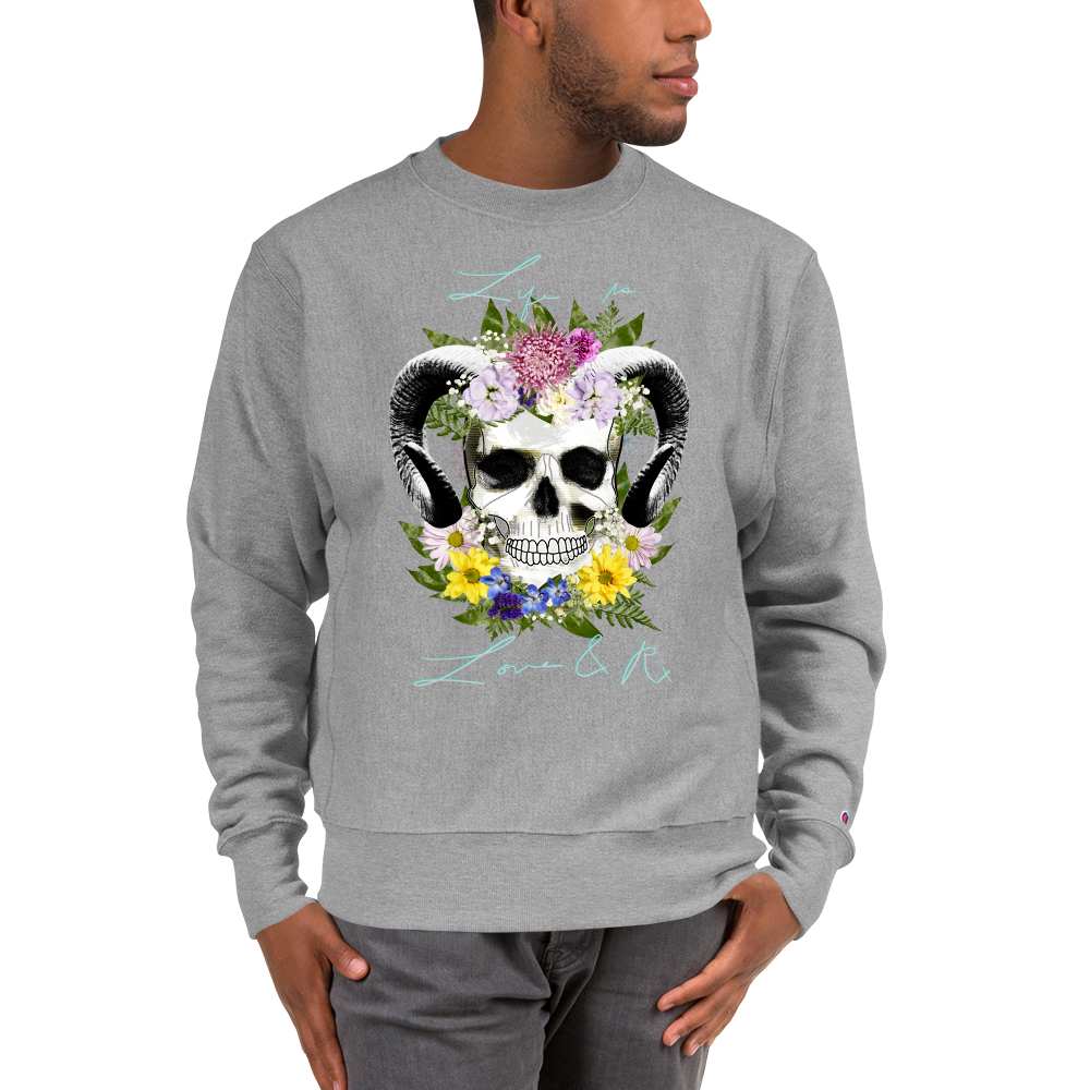 Flower Ram Skull Champion Crewneck Sweatshirt Oxford Grey Heather