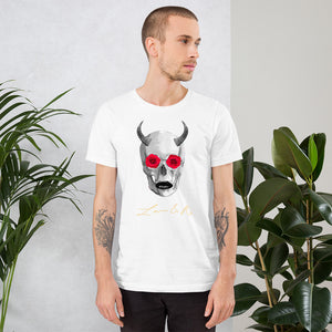 Mythical Horned Chupacabra Rose Skull Short-Sleeve Unisex T-Shirt - White