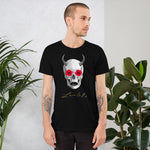 Mythical Horned Chupacabra Rose Skull Short-Sleeve Unisex T-Shirt - Black