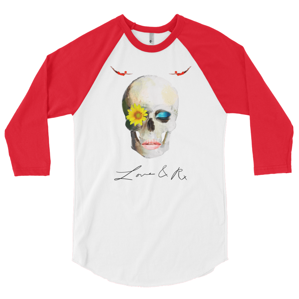 Love And Rx: Dreamer Skull Love And Rx 3/4 Sleeve Raglan T-Shirt - White W/ Red Sleeve
