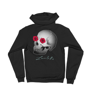 Love And Rx: She He Rose Skull Love And Rx Zip Hoodie Sweater - Black