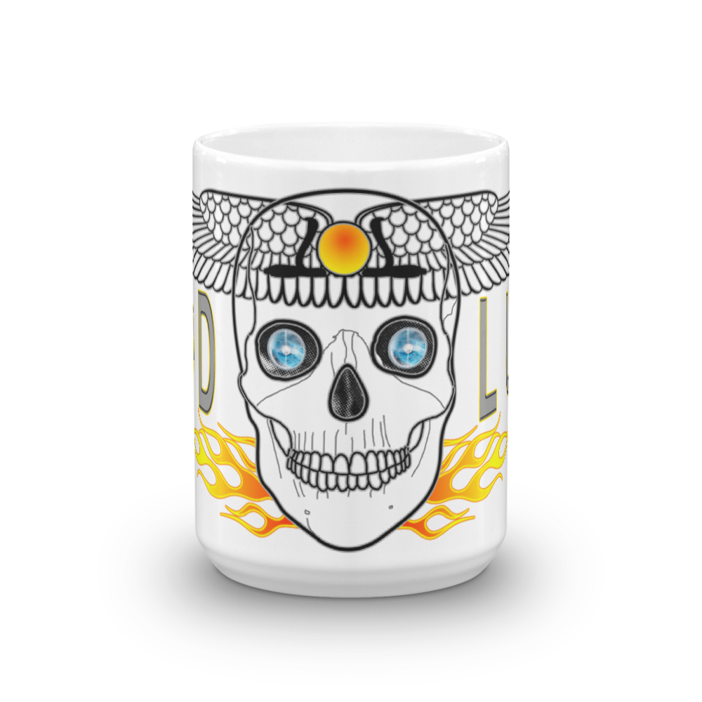 Good Luck Winged Sun Disc Symbol Skull - 11oz And 15oz White Mug